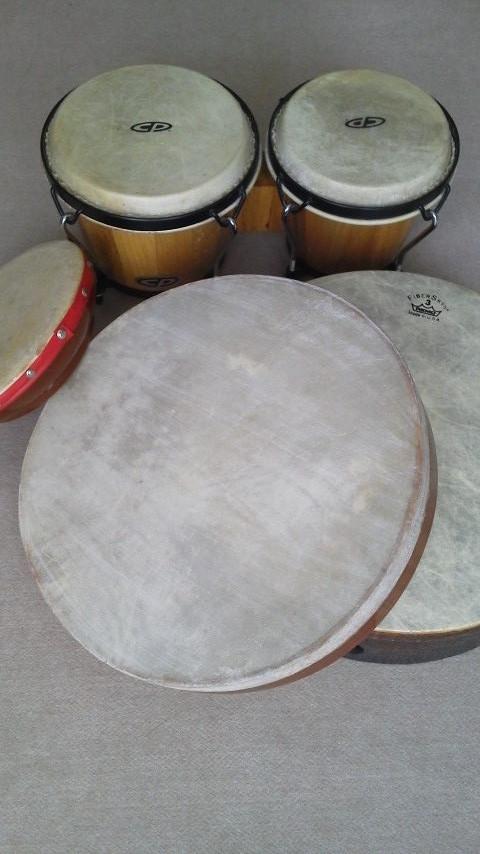 ボンゴ・ハンドドラム  大きなハンドドラムは音の強弱など変化がつけやすく、小さなお子さんにもよく使います