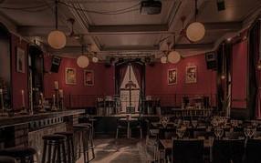 Bar och restaurang med röda väggar