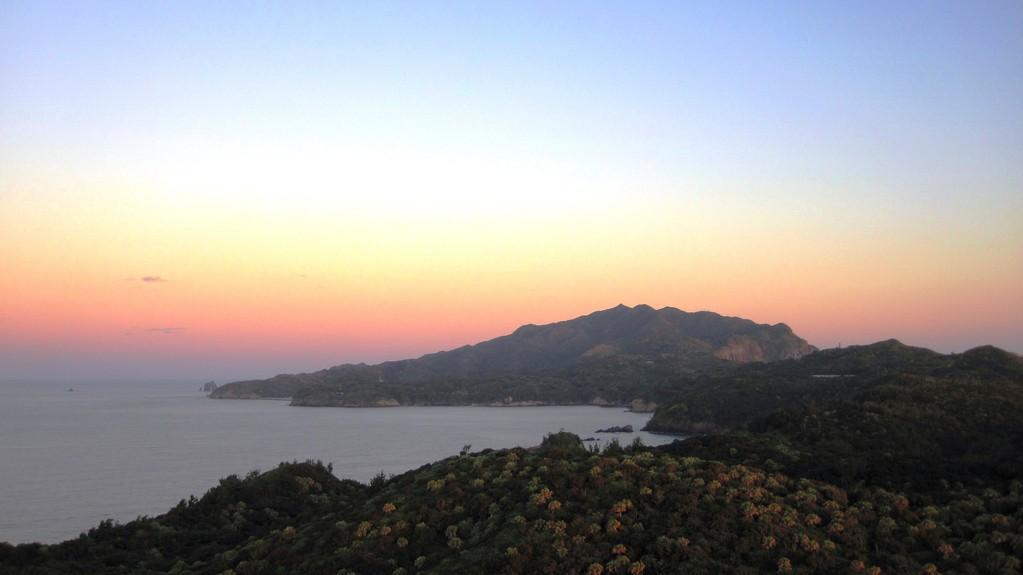 小富士山頂での朝焼け