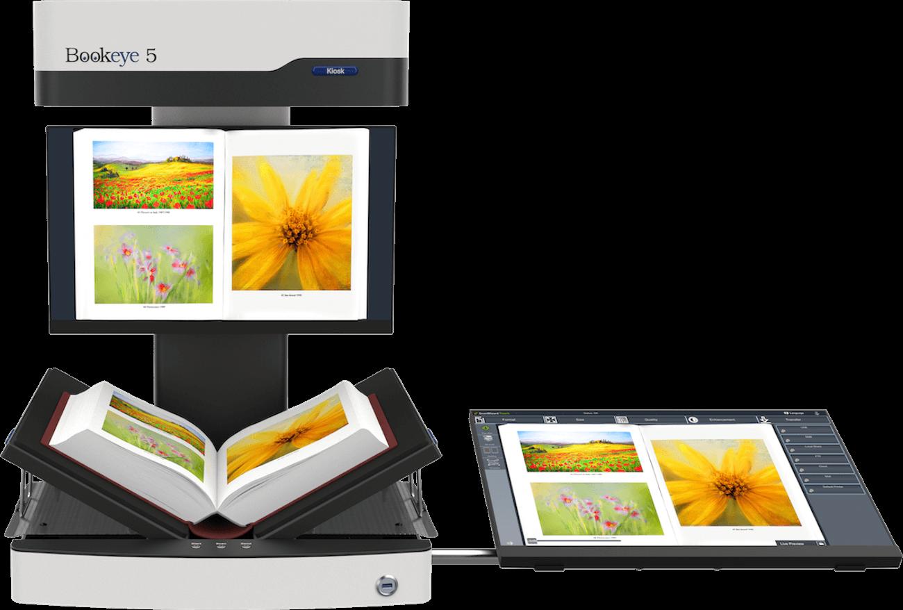 """Buchscanner A3 Bookeye 5 V3 Basic in V-Stellung mit 21"""" Touchscreen seitlich und separatem Vorschaumonitor am Hals"""