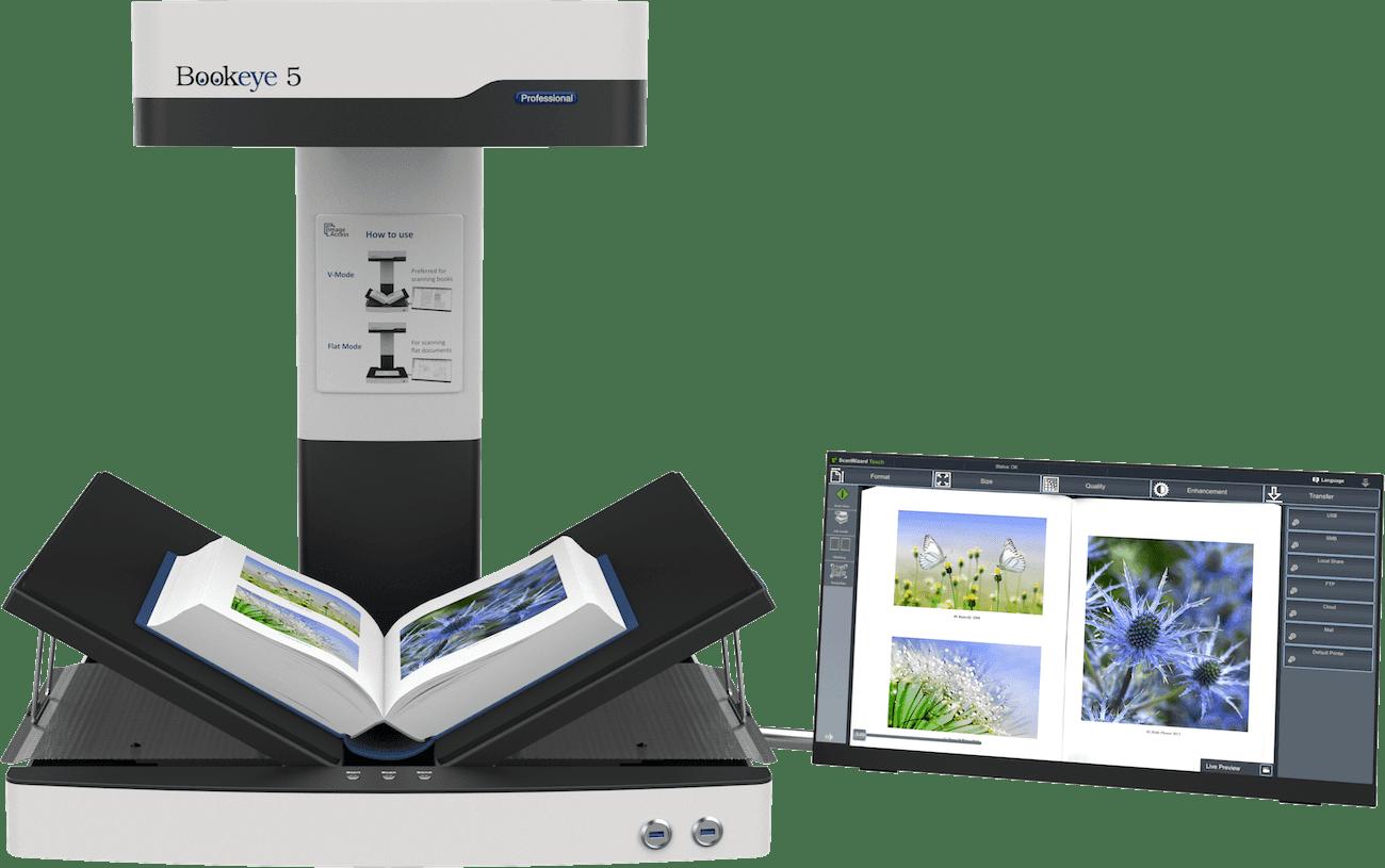 """Buchscanner A2 Bookeye 5 V2 in V-Stellung mit 21"""" Touchscreen"""