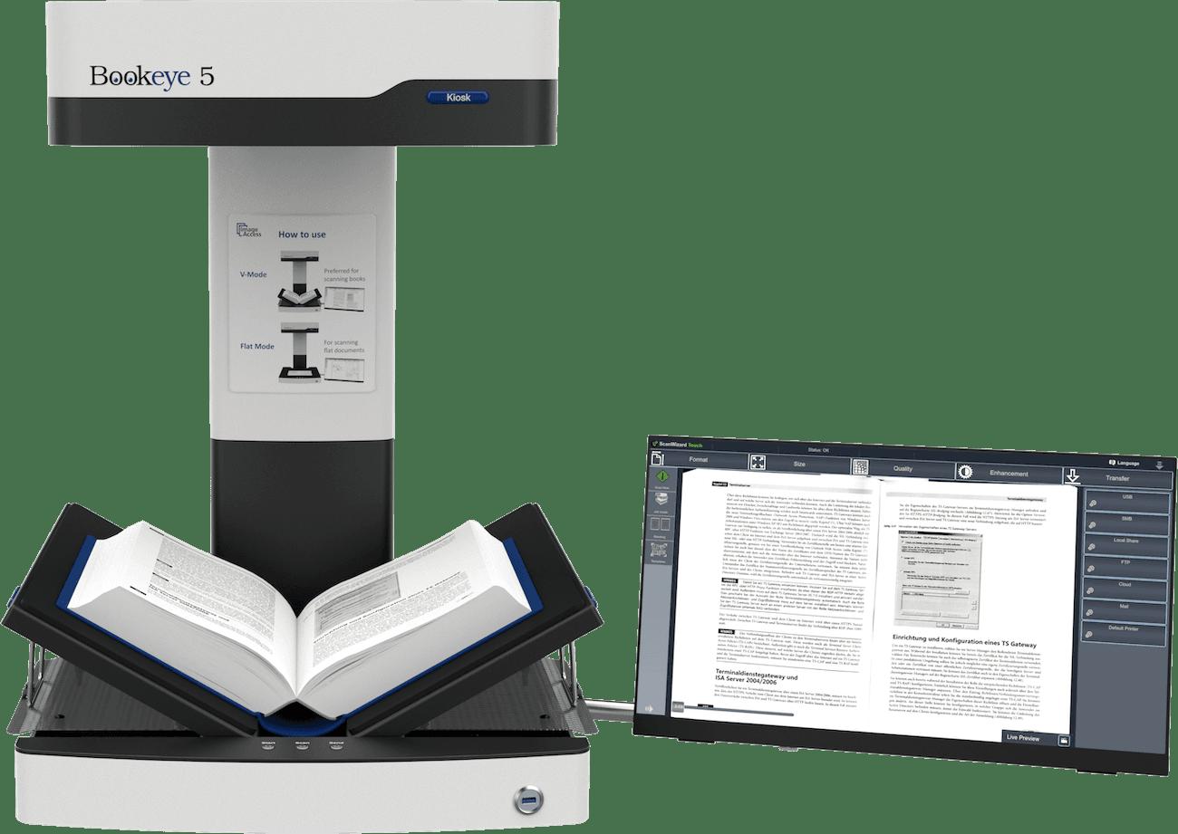 """Buchscanner A3 Bookeye 5 V3 Basic in V-Stellung mit 21"""" Touchscreen seitlich"""