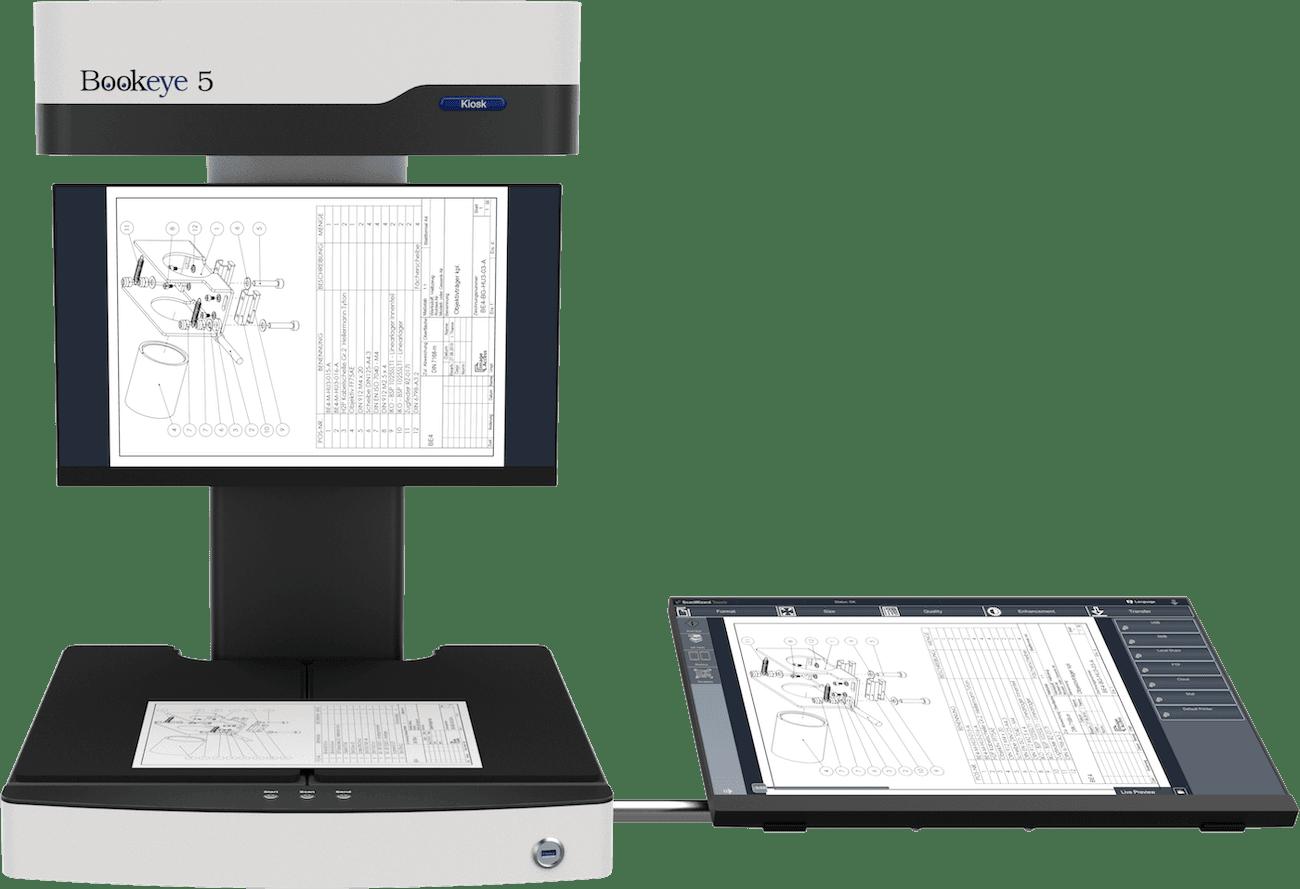 Buchscanner A3 Bookeye 5 V3 Basic in flacher Stellung mit Touchscreen seitlich und separatem Vorschaumonitor am Hals