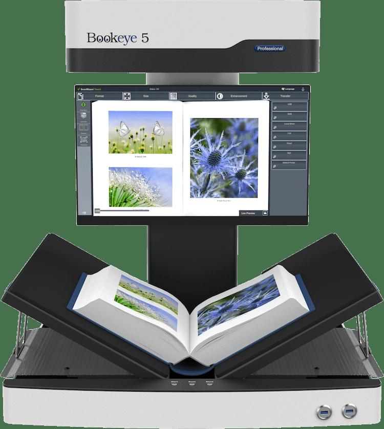 Buchscanner A2 Bookeye 5 V2 in Buchschonender V-Stellung