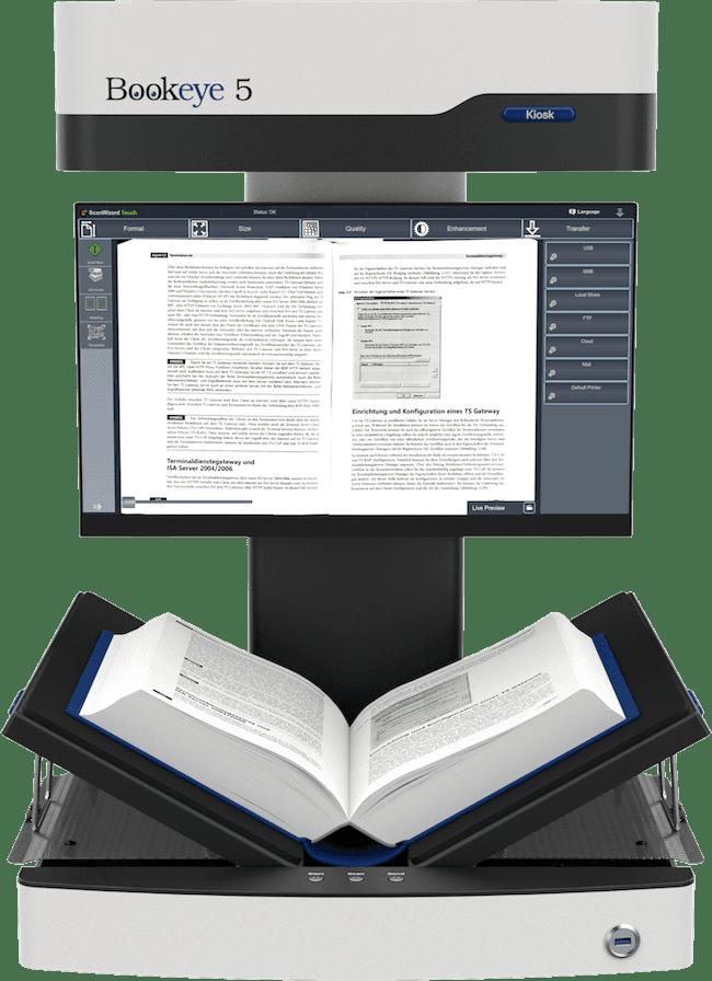 Buchscanner A3 Bookeye 5 V3 Basic in buchschonender V-Stellung mit Touchscreen am Hals befestigt