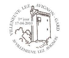 Cachet Premier Jour du timbre sur Villeneuve lez Avignon