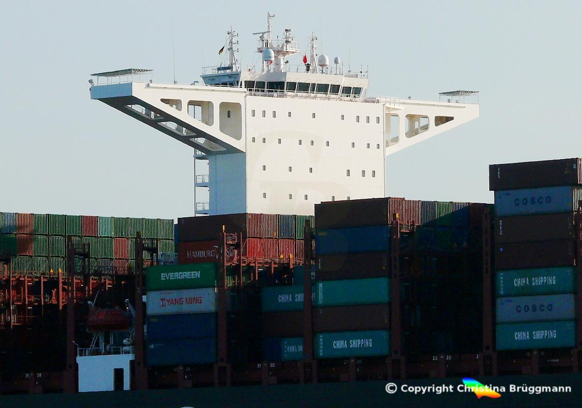 """Deckshaus UASC A19-Klasse Containerschiff """"AL ZUBARA"""" 16.03.2017 auf der Elbe"""