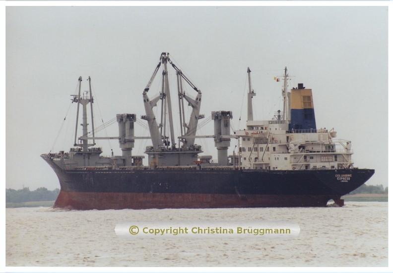 """""""COLUMBINE EXPRESS"""" auf der Elbe  06.2001"""
