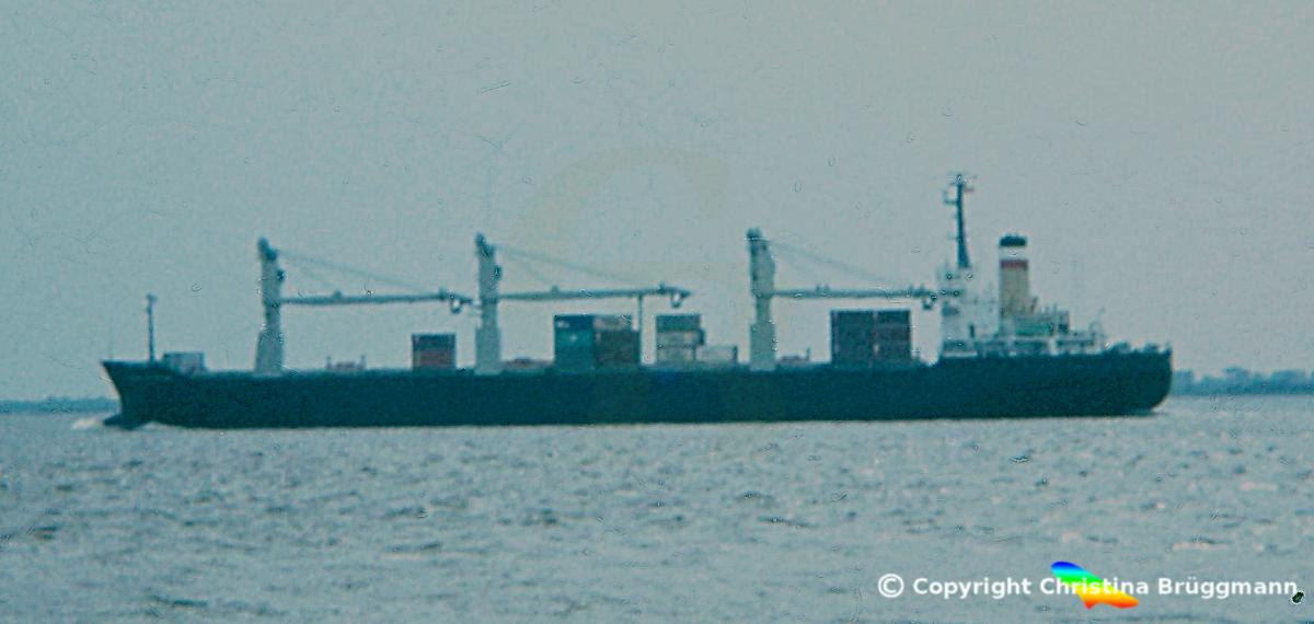 """Hapag-Lloyd Containerschiff """"ISAR EXPRESS"""" 1984. 1978 als FRAUENFELS der DDG-Hansa zum Containerschiff umgebaut"""
