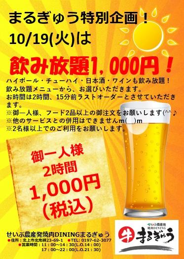 本日、1,000円飲み放題です!