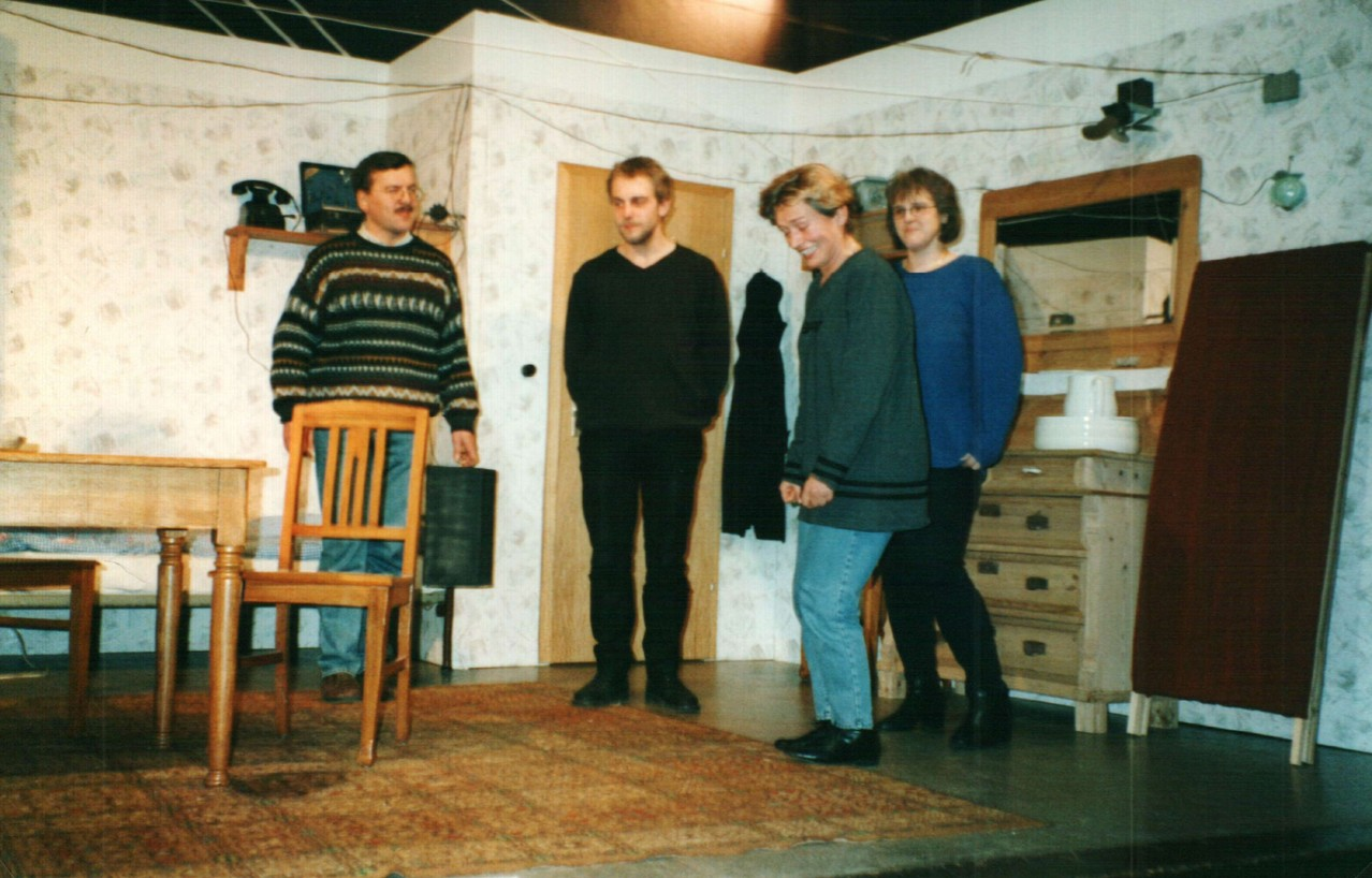 Bei der Probe: Dirk Reineke, Christoph Koloff, Brigitte Krumdieck, Mirjam Koloff