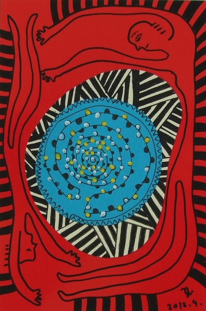 ひとびと展① 赤い眠り(ゆにばーす) 148mmx100mm 2012-09