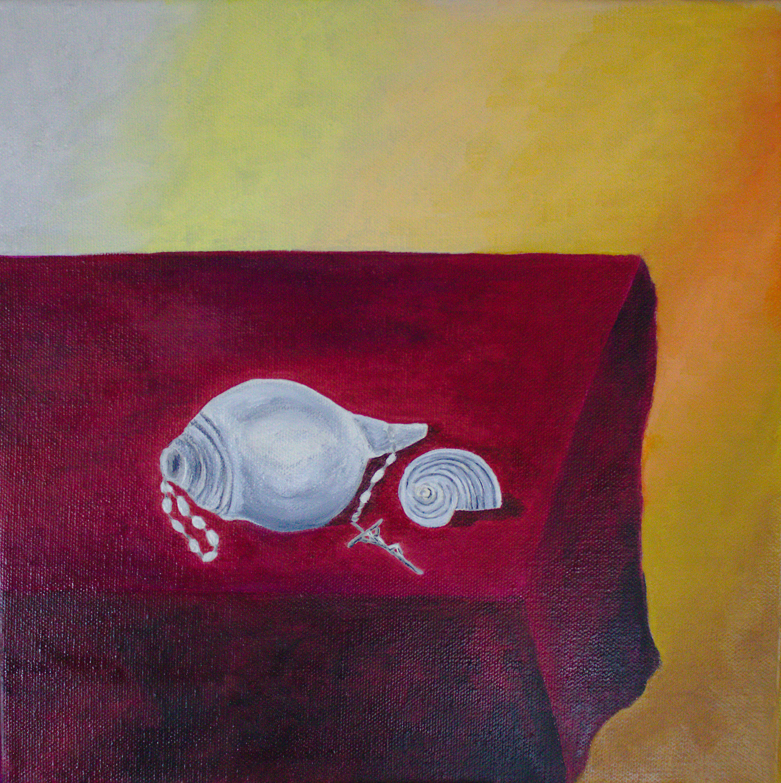 Stilleben mit Rosenkranz, Öl auf Leinwand 30 x 30 cm
