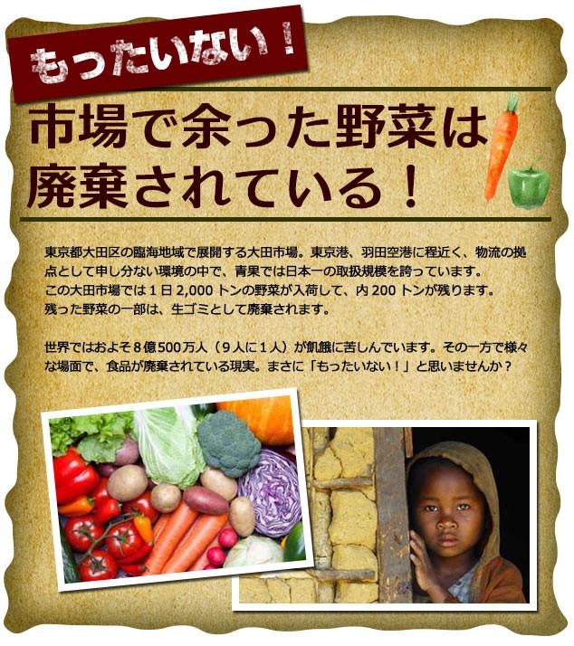 もったいない!市場で余った野菜は廃棄されている!