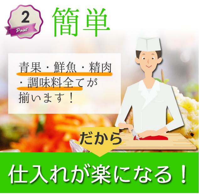 青果・鮮魚・精肉・調味料全てが揃うので仕入れが楽になる!