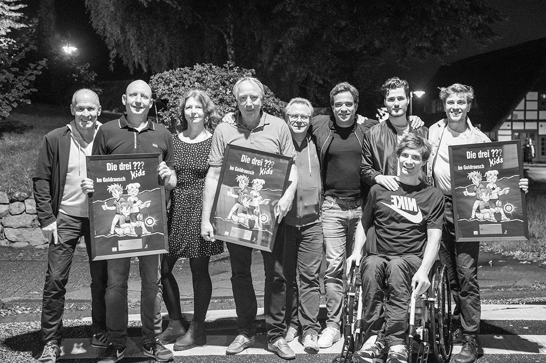 Von links nach rechts: Matthias Krauße, Legal Sony Music Family Entertainment; Produzent Gunnar Blanck; Maike Müller, Senior Content and A&R Manager EUROPA; Autor und Regisseur Ulf Blanck, Ansgar Döbertin, Live Audio Medienproduktion; Arndt Seelig Senior