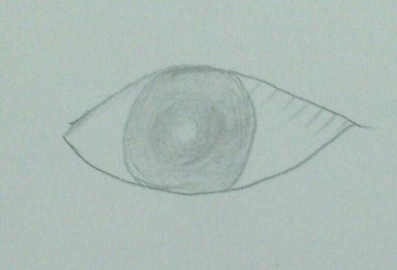 ①目を自由に描いてもらう。