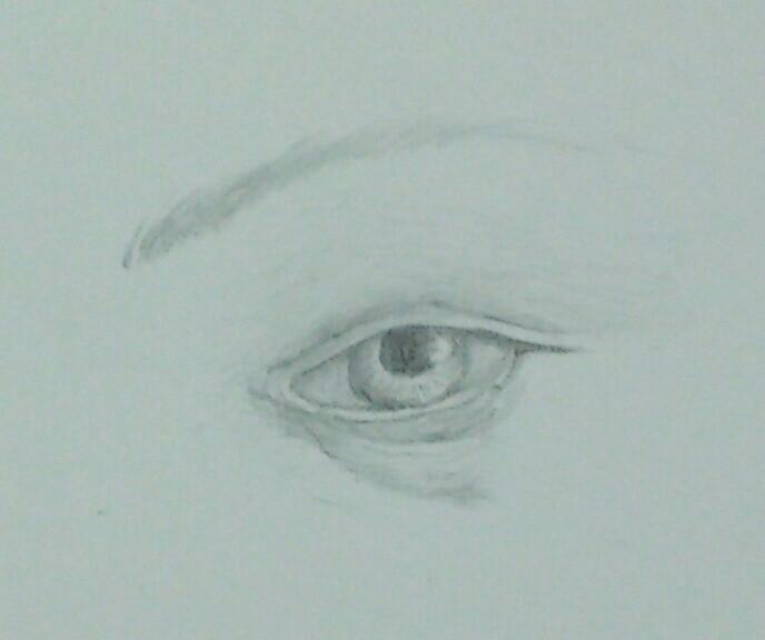 ③ボッティチェルリの「ヴィーナスの誕生」のヴィーナスの目の模写