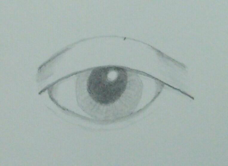 ②目の描き方を伝え、その通りに描いてもらう。