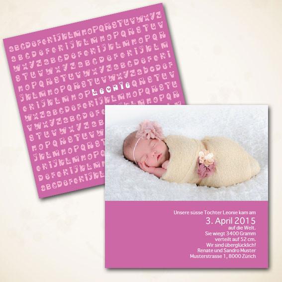 Karte zur Geburt für Mädchen
