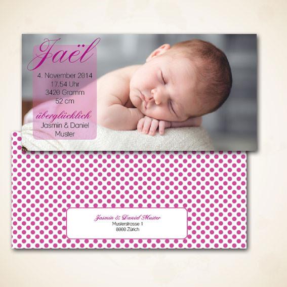 Geburtsanzeige oder Karte zur Geburt