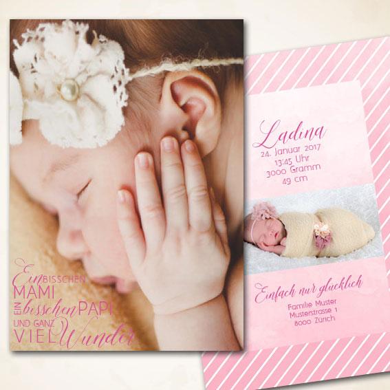 Mädchen Babykarte