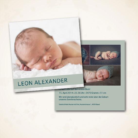 Geburtskarte zweiseitig