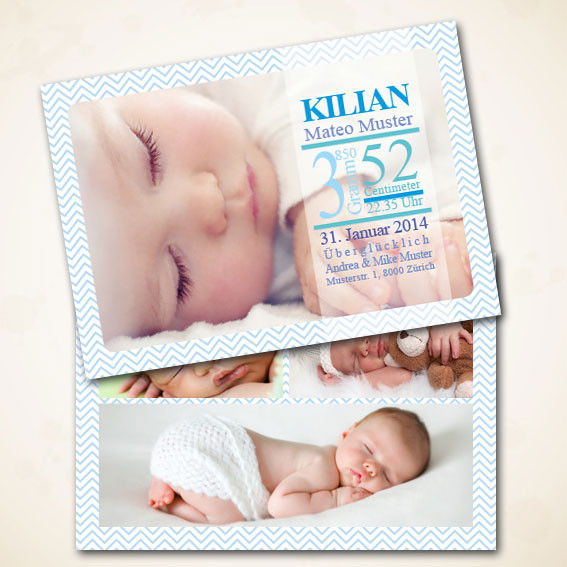 Geburtsanzeige für Jungs