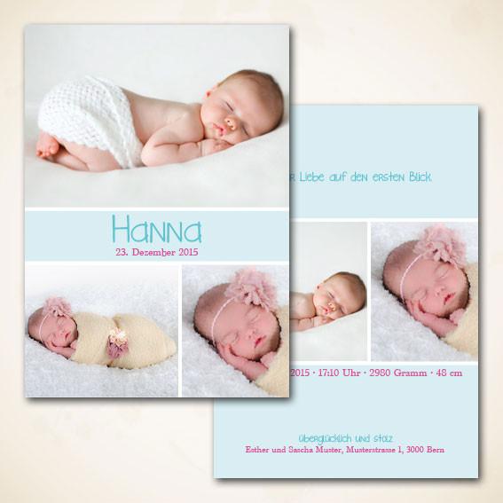Geburtsanzeige für Mädchen