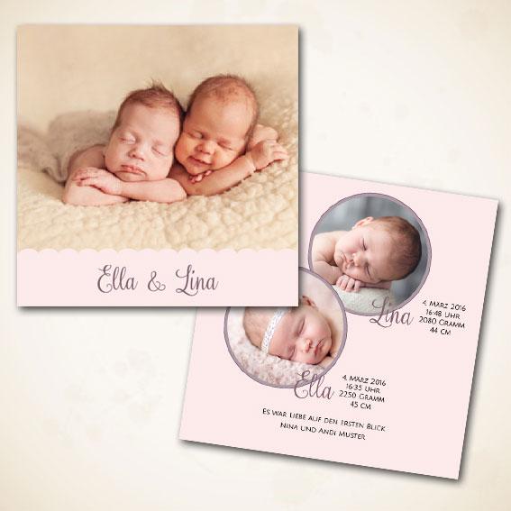 Karte zur Geburt für Zwillinge bestellen