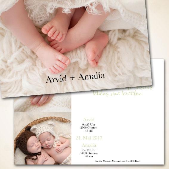 Geburtsanzeige für Zwillinge