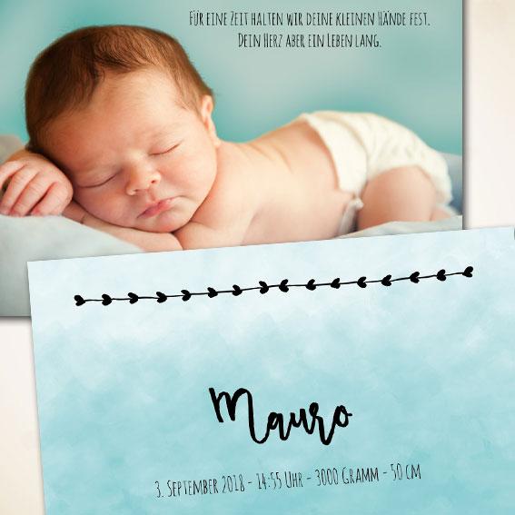 Geburtskarte mit Wasserfarben