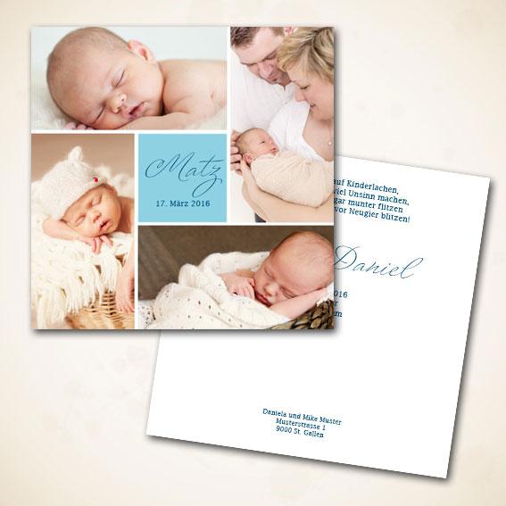 Geburtsanzeige für Buben
