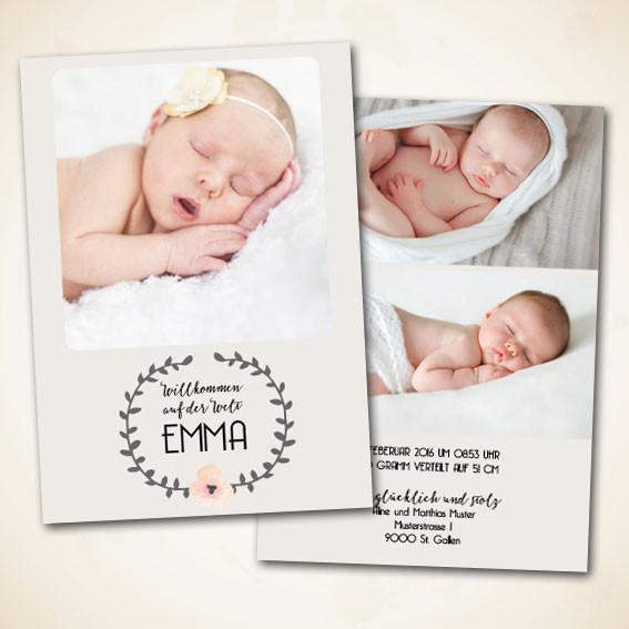 moderne Karte zur Geburt bestellen