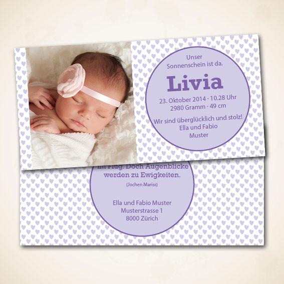 Geburtsanzeige und Babykarte im Online Shop