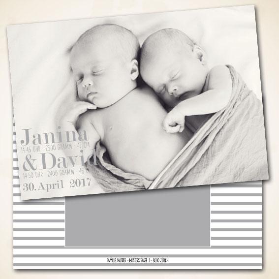 Karte zur Geburt Zwilling