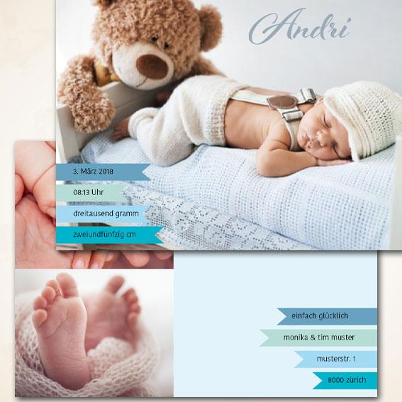 Karten zur Geburt für Buben