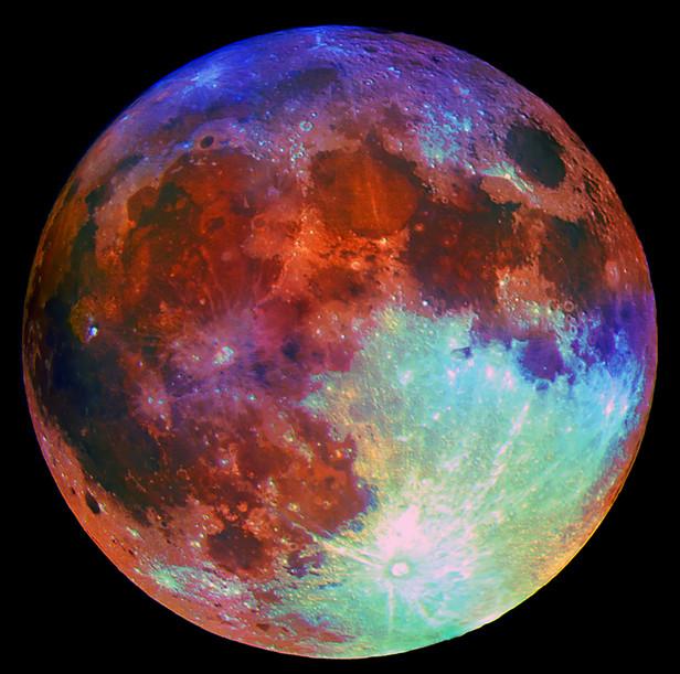 Полная Луна 03 марта 2015 г. Изображение получено на 265/3550мм Кассегрен и фотоаппарат Canon 450 Da. Предельно насыщена цветность.
