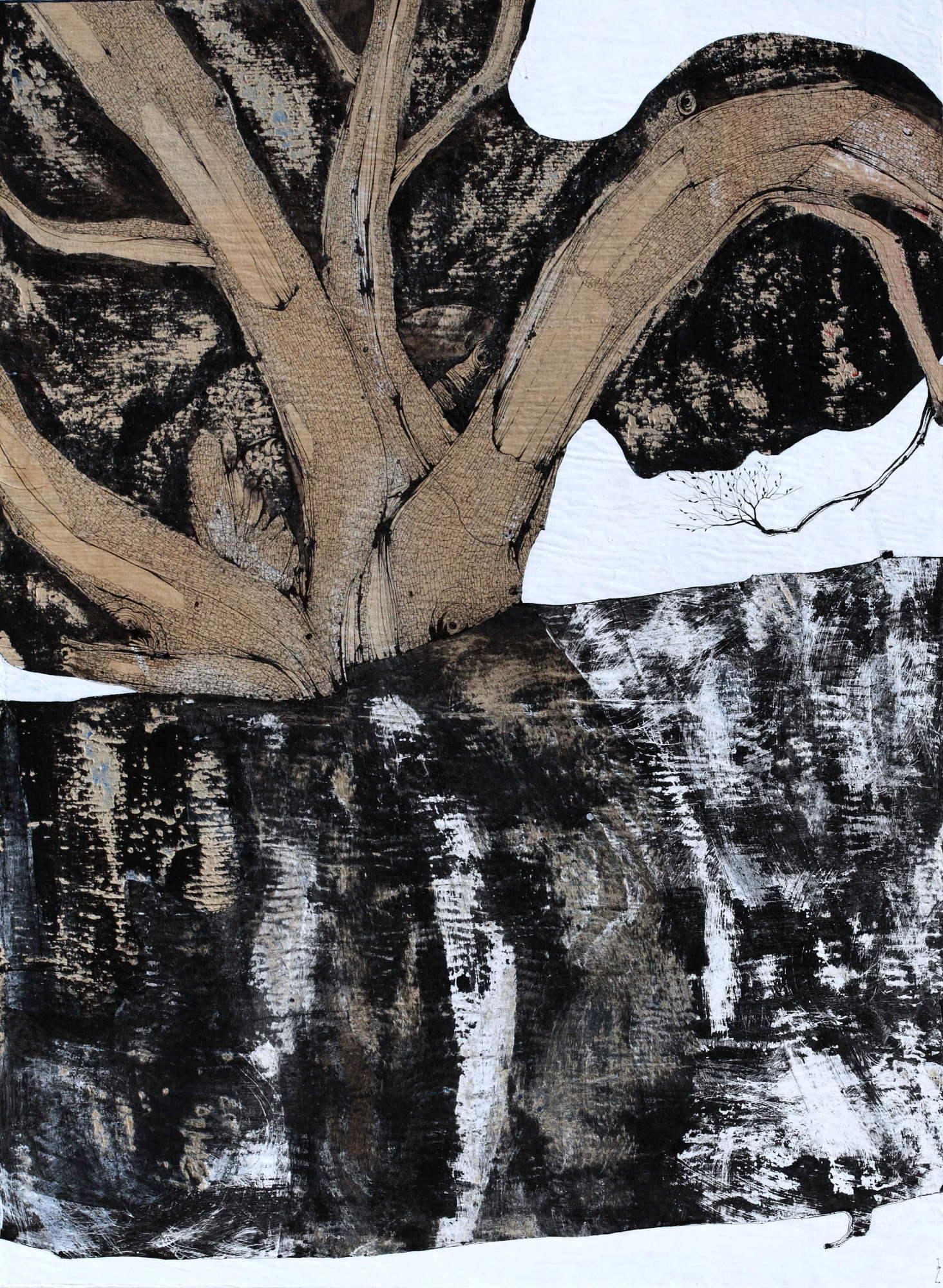 Blackthorn - 2018 - encre et acrylique sur papier kraft marouflé sur toile hauteur 92 cm - largeur 73 cm - Oeuvre de Pascal Jacquet