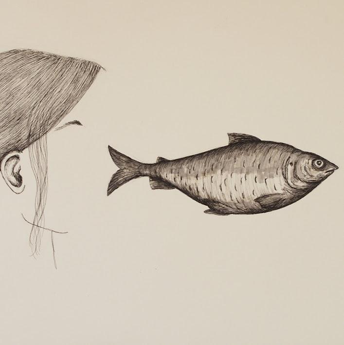 """""""La traversée"""" - dessin, encre et feutre - 32,5 x 50 cm - 2019. Oeuvre de Bilitis Farreny"""