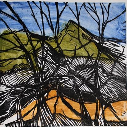 """""""Col de Suméne"""" triptyque, gravure sur 2 bois 80 x 30 cm. Gravure de Marc Granier."""