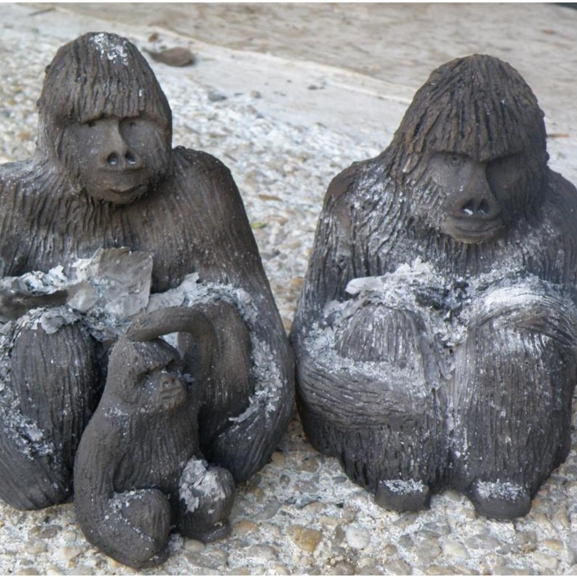 """Gorilles après l'enfumage pour l'oeuvre d'Annick Cammarata """"Voie de l'extinction"""""""
