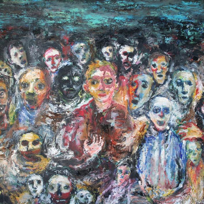 """""""Hommes II"""" - huile sur papier - 60 x 70 cm - Oeuvre de Titos Kontou"""