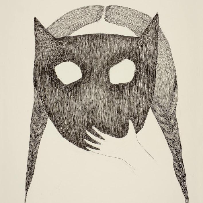 """""""Sororités (masque)"""" -dessin, encre et feutre - 32,5 x 50 cm - 2019. Oeuvre de Bilitis Farreny"""