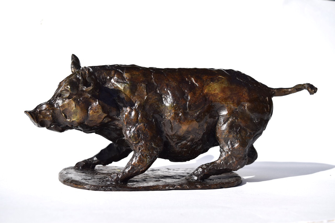 """Cochon Surpris (Pig, Startled, Eos)"", bronze, 32cm x 15cm x 15cm. Jess Wallace"