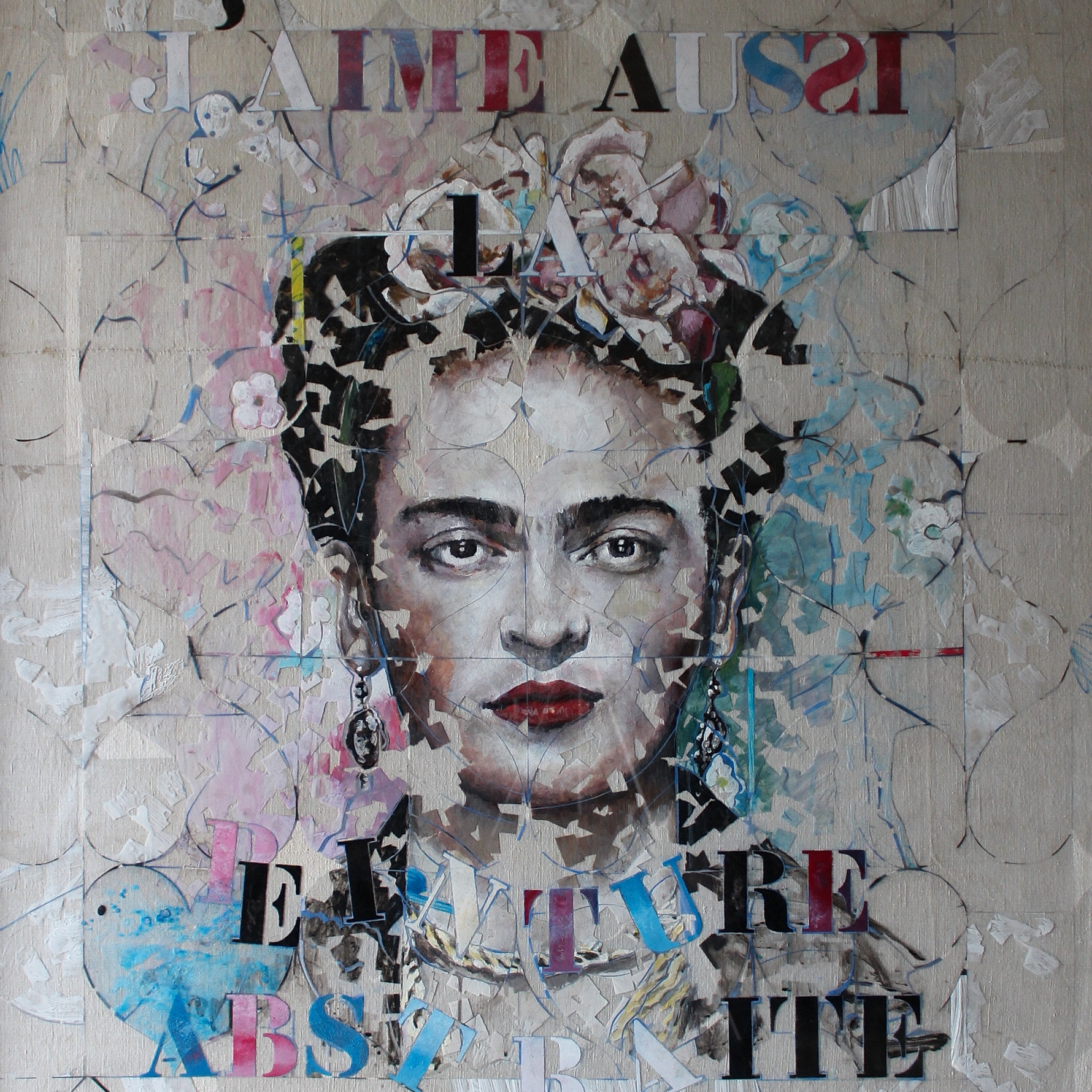 """""""Frida dans tous ses états"""", collage, scotch, transparent, acrylique sous plexi, 109x117 cm. Jean-Noël Crépin"""