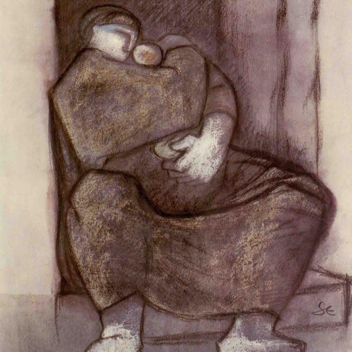 """""""Sans titre (Pst N°17)""""  - Pastel gras et technique mixte  - 36,5 x 28,5 cm - encadré. Oeuvre de Suzanne ELATH"""