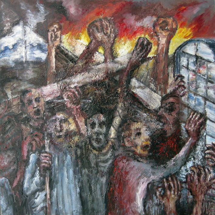 """""""Révolte"""" - Huile sur toile - 80 x 80 - Oeuvre de Titos Kontou"""