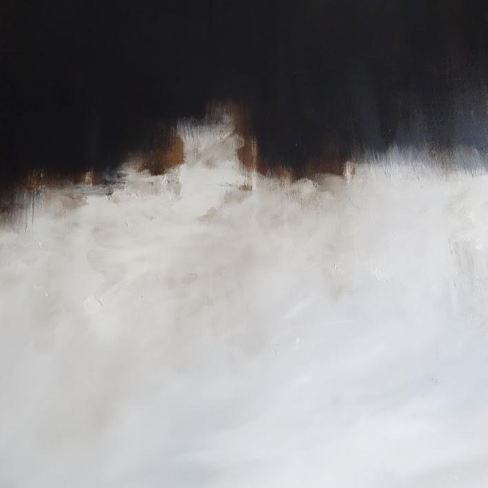 """""""L'Estran"""" - Huile et bitume sur toile - Dim. 100 x 50 cm - 2017. Oeuvre de Nanie"""