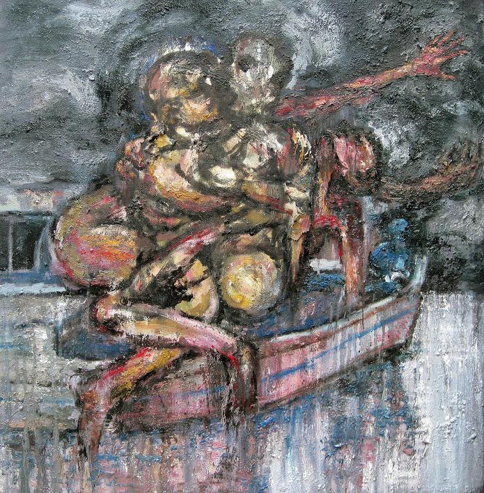 """""""Migration"""" - huile sur toile - 80 x 80 cm - Oeuvre de Titos Kontou"""